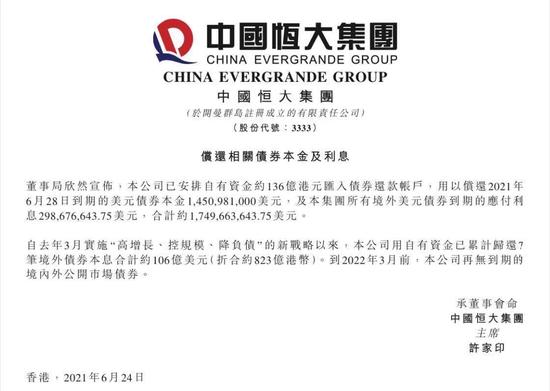 中国恒大安排136亿港元资金 提前偿还6月28日到期美元债